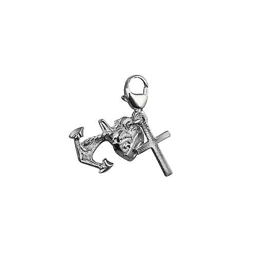 Silver 15x4mm Faith Hope and Charity Charm on a lobster trigger