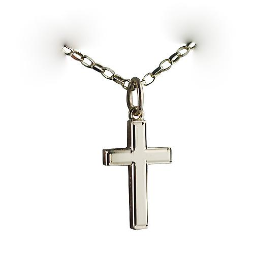9ct Gold 17x10mm engine turned line border solid block Cross with belcher Chain 16 inches Only Suitable for Children
