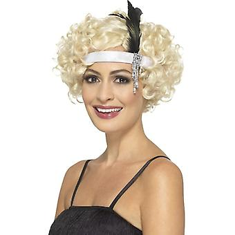 Womens White Satin 1920s Charleston Headband Fancy Dress Accessory