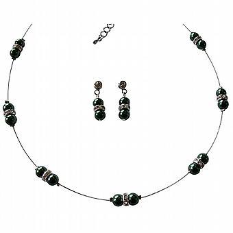 Bryllupet smykker grønne perler halskjede Rhinestones Spacer
