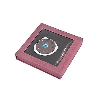Danielle Compact Mirror and Tweezer Set with Swarovski Elements in Glittery Box - Plum
