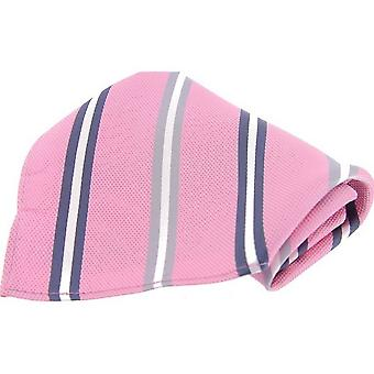 David Van Hagen Striped Silk Pocket Square - Pink/Grey/White