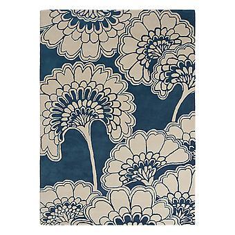 Tapetes florais japoneses 039708 na meia-noite por Florence Broadhurst
