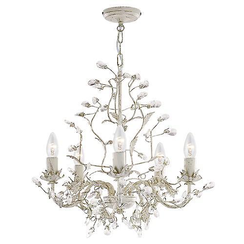 Searchlight 2495-5CR Almandite 5 Light Shabby Chic Pendant, Cream/Clear Crystal