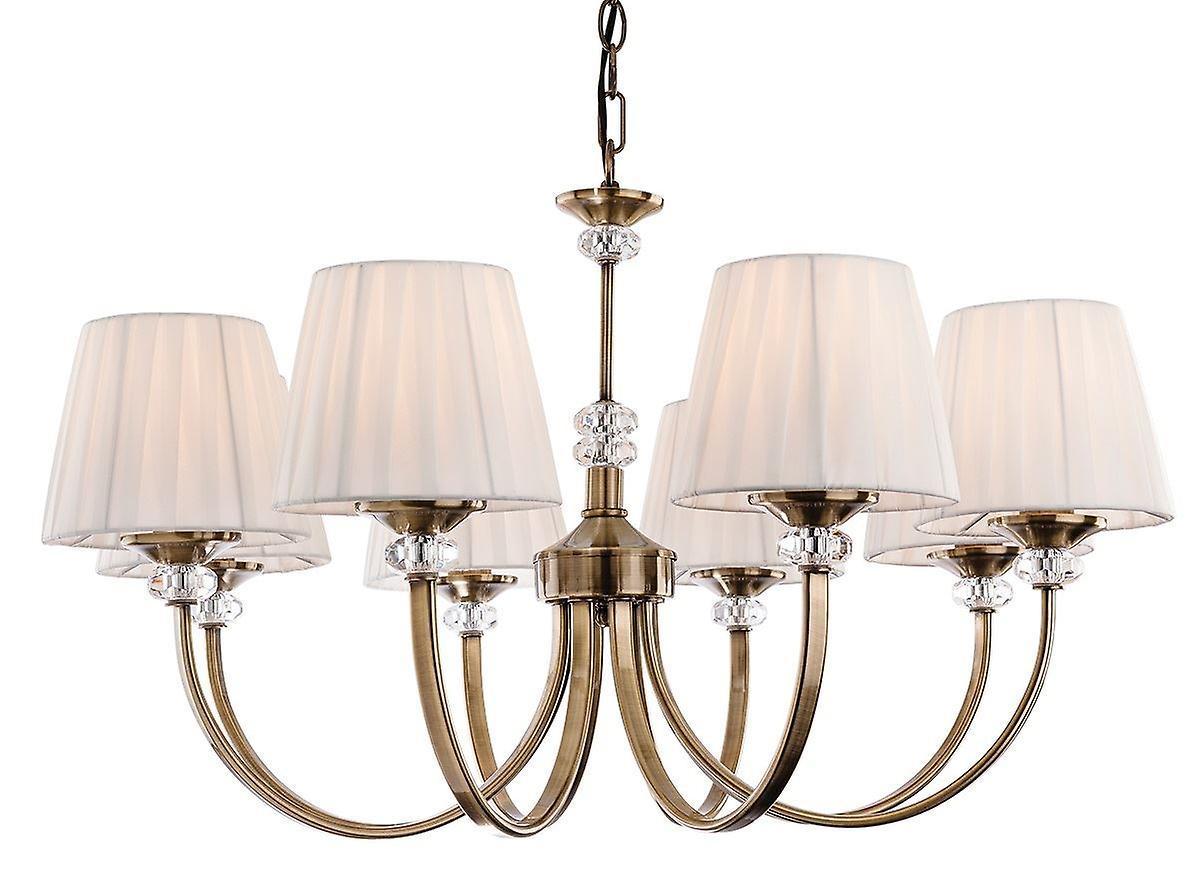 Firstlight - 8 Light Chandelier Antique Brass, Pleated Cream Shades - 4864AB