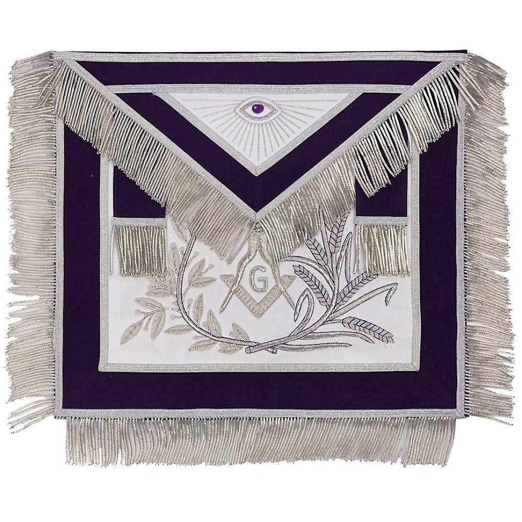 MASTER MASON argent Embroiderouge Apron square compass with G violet-Lambskin