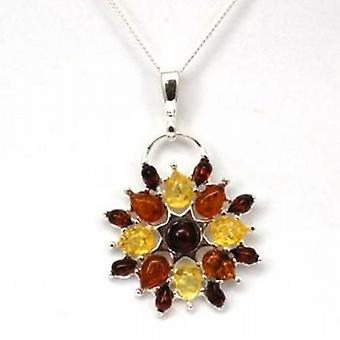 Toc Sterling Silver Flower Shaped Amber Pendant on 18 Inch Chain