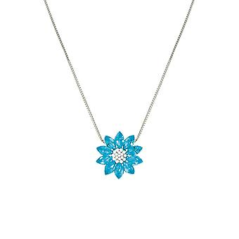 Eternal Collection Lotus Turquoise Austrian Crystal Silver Tone Pendant Necklace