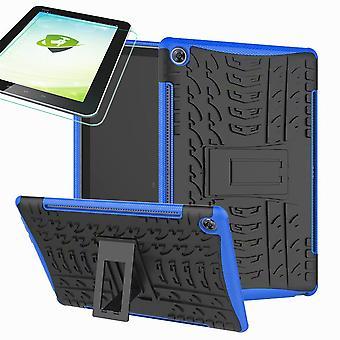 Für Samsung Galaxy Tab A 10.1 T510 / T515 2019 Hybrid Outdoor Schutzhülle Blau Tasche + 0.3 H9 Schutzglas