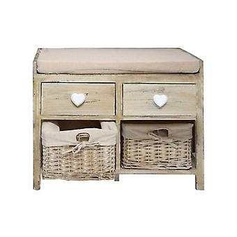 Rebecca Bench Furniture Seat 2 drawers 2 wicker Wooden Baskets Pillow Beige Shabby Chic Room