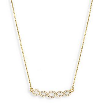Oändlig guldpläterad halsband med Cubic zirconia 45cm