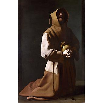 St. Franciscus i meditation, Francisco de Zurbaran, 60x40cm