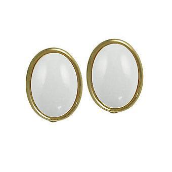 Eterna colección Cabochon montaña blanca piedra preciosa Jade dorado Stud Clip en pendientes