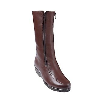 Ladies Womens Twin Zip Leather Boot