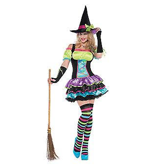 Womens Pop Neon Witch Halloween Fancy Dress Costume (Taille 8-10)