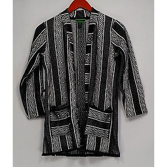 C. Wonder Women's Kimono Style Geometric Print Knit Jacket Black A287627