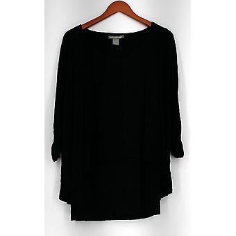 Kate Mallory Top Soft Knit V-Neck Dolman Sleeved Built In Tank Black A421663