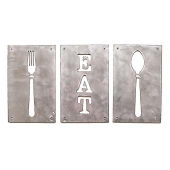 Eat fork and spoon - metal cut sign 10x6in each