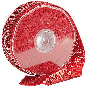 Square Sequin Trim 40Mm X 15.95 Yards Red 9801 40 08