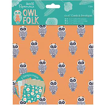 Papermania Owl Folk Cards W/Envelopes 6