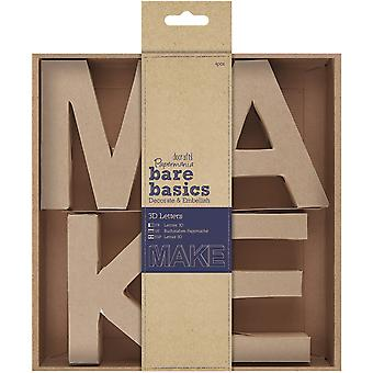 Papermania Bare Basics 10cm 3D Letters 4/Pkg-MAKE PM174074