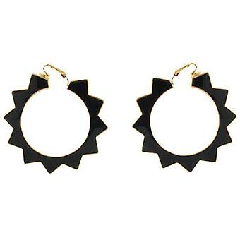 Kenneth Jay Lane Gold Plated & Black Enamel Spike Hoop Clip On Earrings