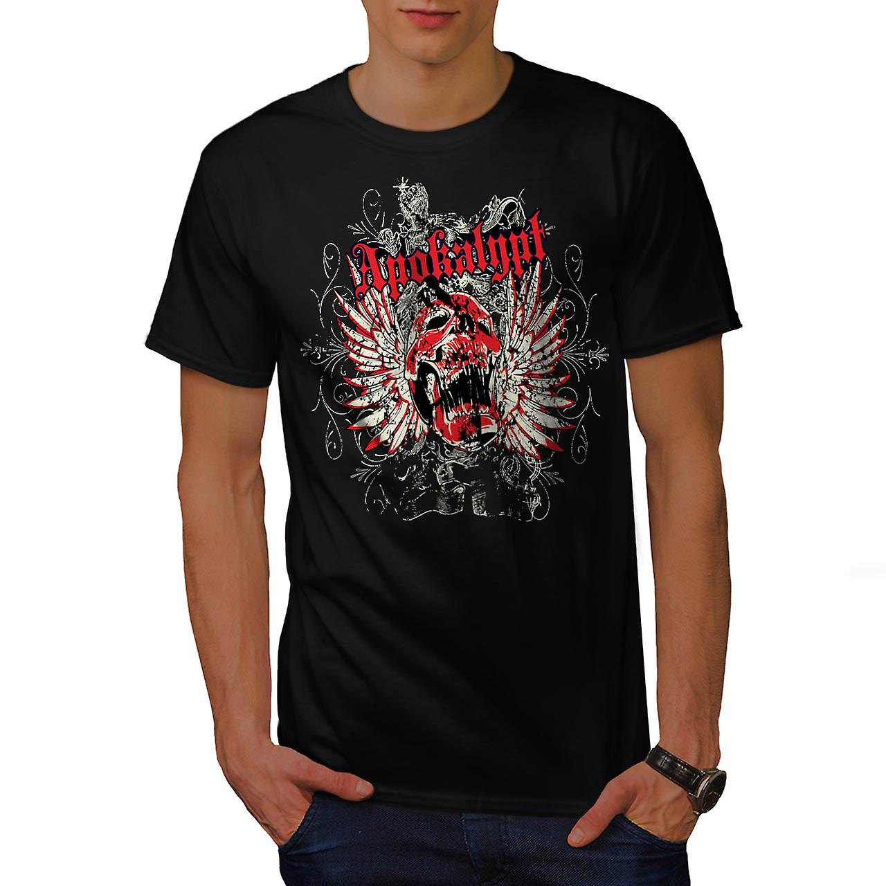 Apokalypt Feather Skull Men Black T-shirt | Wellcoda