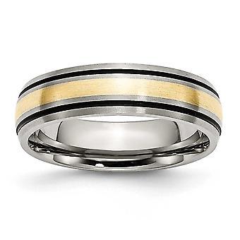 Titanium 14k gouden Inlay 6mm borstel/Antique Band - grootte 9.5