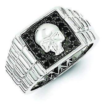 Sterling Silver Black Diamond Square Skull menns Ring - Ring størrelse: 9-11