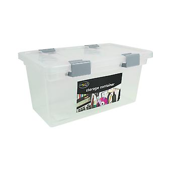 Pack of 2 Clear Clip Lock Storage Container Strong Lid Desk Home Tidy Spacesaver