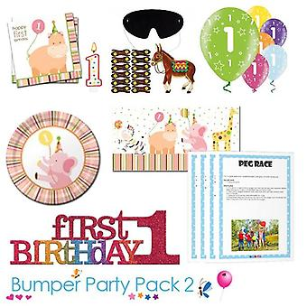 Sweet at 1 Girl 1st Birthday Party Tableware Bumper Pack 2
