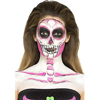 Make up set neon skeleton skull 4 colours with scraper pink black white grey