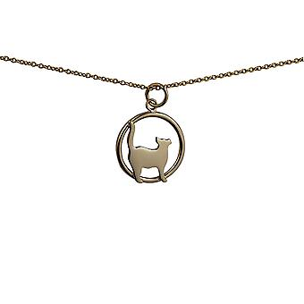 9ct Gold 16x18mm standing Cat looking to the right in a circle Pendant with a cable Chain 16 inches Only Suitable for Children