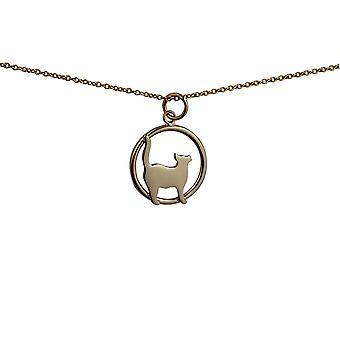 9 قيراط الذهب الدائمة 16x18mm القط يبحث الحق في دائرة قلادة مع أحد كابلات سلسلة 16 بوصة