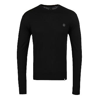 Pretty Green Hinchcliffe Black Wool Knitted Crew Neck Sweater