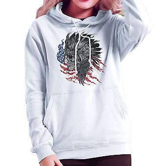 Sudadera con capucha del nativo americano jefe cráneo bandera Femenil