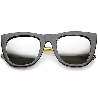 High Fashion Alligator Metal tempel spejlet linse flad Top solbriller