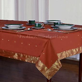 Rust - Handmade Sari Tablecloth (India)