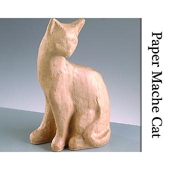 110mm Weighted Paper Mache Sitting Cat to Decorate | Papier Mache Shapes