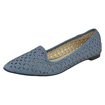 Ladies Spot On Slip On Flat Shoes