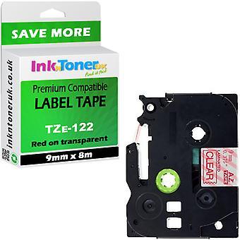 Compatible TZe-122 stratifié rouge-clair 9 x 8 cartouche Brother PT-2470 label