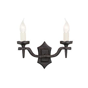 Elstead RY2B BLACK Rectory twin black, wrought iron wall light