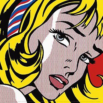 Girl with Hair Ribbon 1965 Poster Print de Roy Lichtenstein (12 x 12)