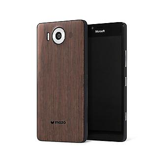 Genuine Mozo Qi Wireless Charging Back Cover Case with NFC for Microsoft Lumia 950 - Black / Walnut - 950BBWWN