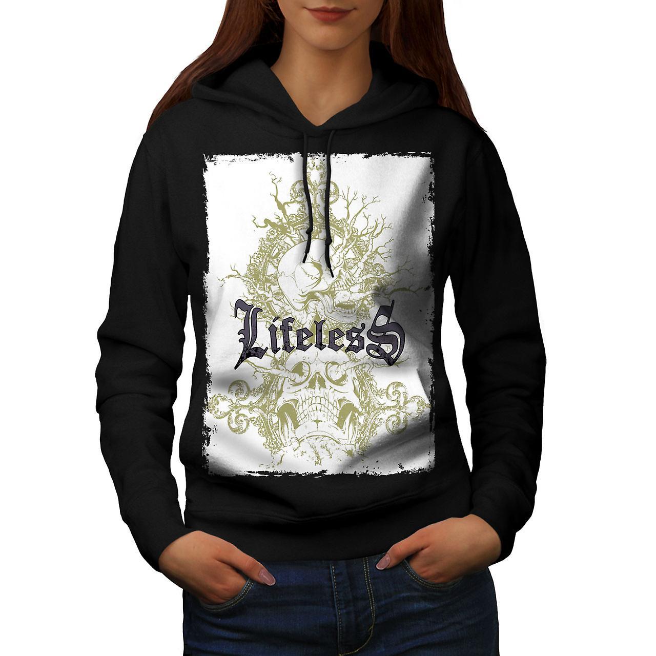 Lifeless Gothic Skull Women Black Hoodie | Wellcoda