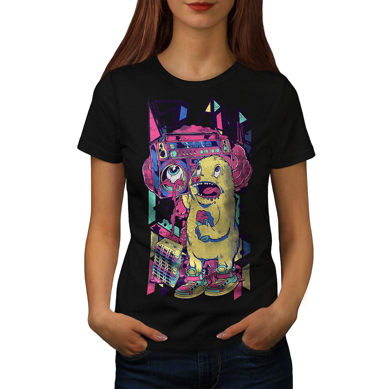 Monster Boom Box Music Women Black T-shirt | Wellcoda