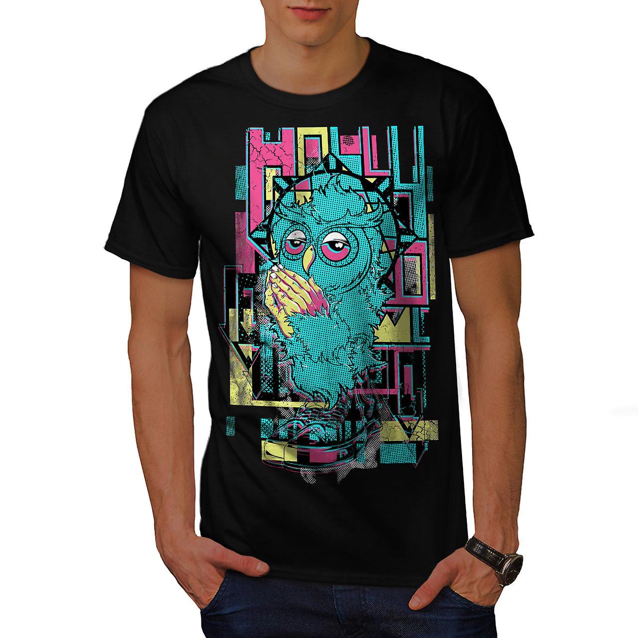 Holly Owl Funky Fashion Men Black T-shirt | Wellcoda