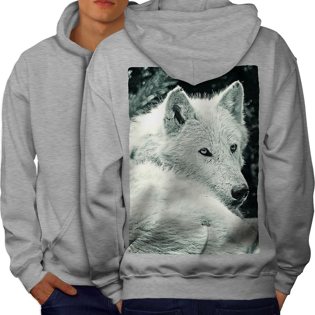 blanc Wolf rétrospection hommes grisHoodie