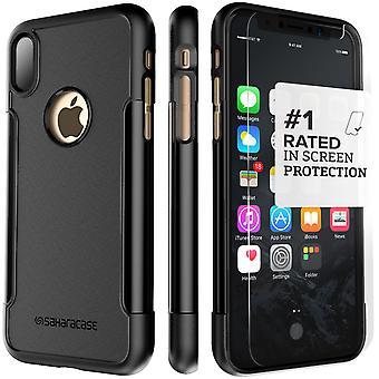SaharaCase iPhone X negro caja, clásico paquete de Kit de protección con vidrio templado de ZeroDamage