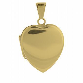 18ct goud 24x20mm vlakte hart gevormd medaillon